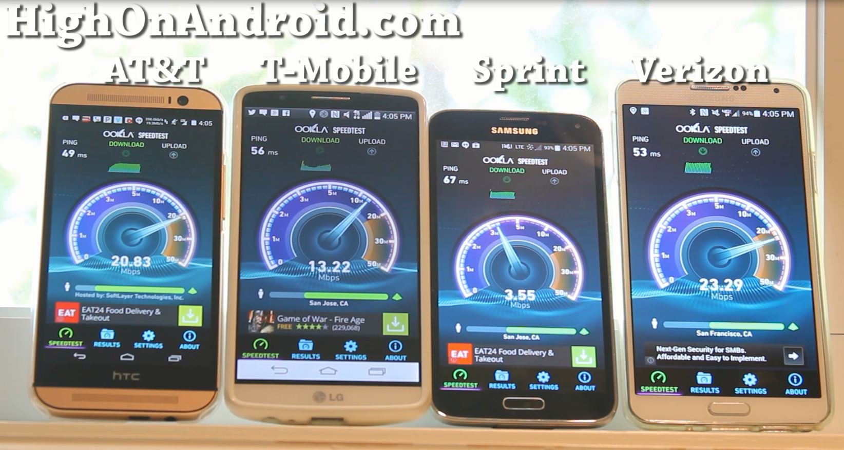 At T Vs T Mobile Vs Sprint Vs Verizon 4g Lte Speed Test Highonandroid Com